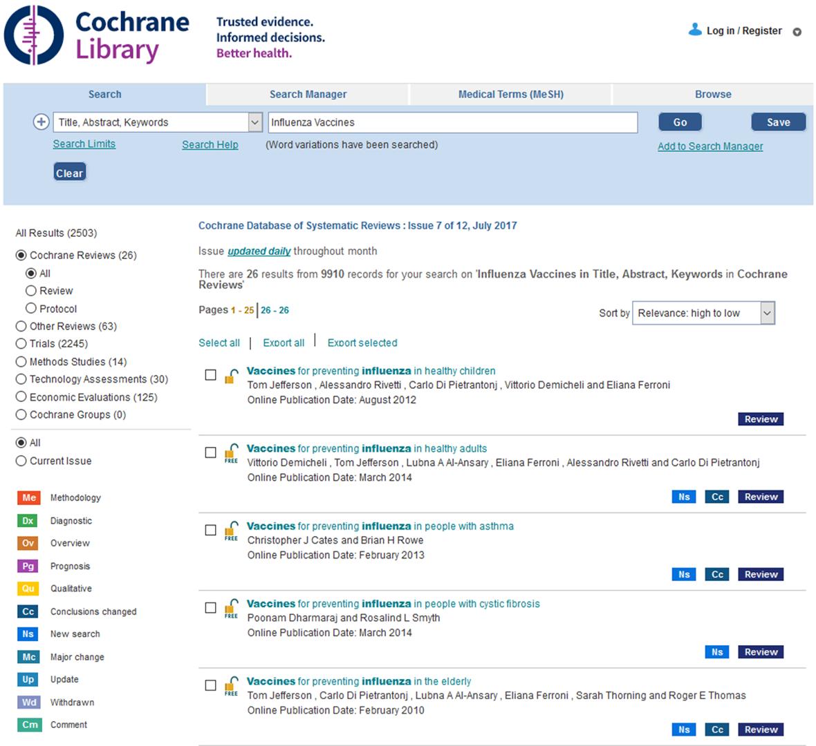 e2a0f149acfdf7 Ilustracja 9: Wynik wyszukiwania w bazie The Cochrane Library dla zapytania  składającego się z jednego terminu.